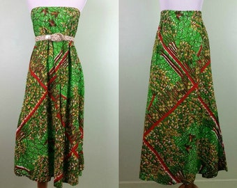1970s Bird in Hand Maxi Skirt / Tube Dress - Small