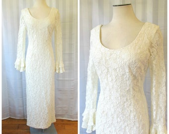 Vintage Lace Dress by Lew Magram Collection New York Maxi 36 38 Bust Ivory White Long Sheer Sleeve Gown 1980s 1990s M Medium