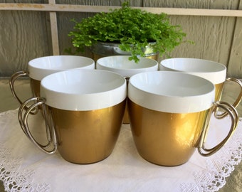 Thermo Serv Mugs/ Gold Insulated cups with chrome handles/ 60's drink ware/ set of five/ onlyformejewelry/ for campers and outdoors