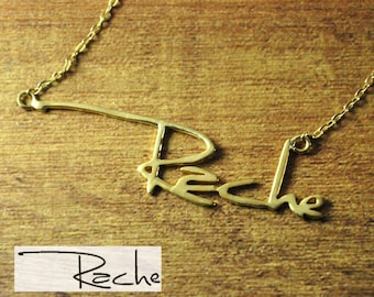 Customized signature necklace, golden plated necklace, personalized handwriting name necklace, customized Signature jewelry, Valentine gifts