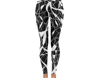 Black White Leggings/ Workout/Womens leggings/Club leggings/Dance leggings/yoga pants/Girls Leggings/Sports pants/Unique leggings/gym pants