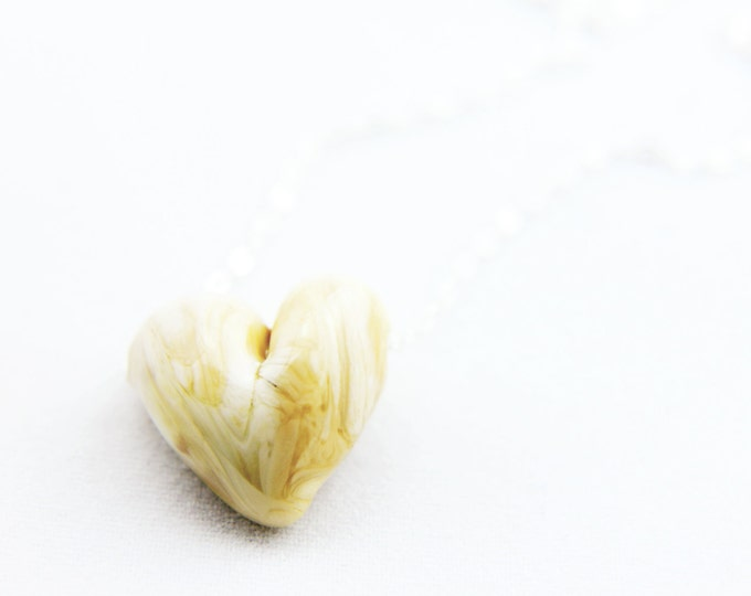Ivory / heart shape pendant/ hand made/ sterling silver chain/ lamp work heart pendant by Destellos - Glass Art & Accessories