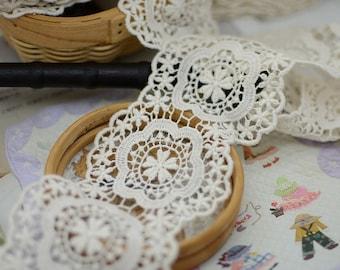 5 yards vintage lace fabric trim in cream, natural cotton lace trim, crochet lace trim, scallop lace