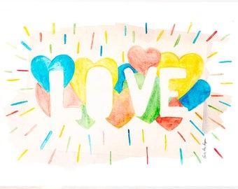 Illustration love and heart / print 21 X 29, 7 / Emilie Raguin