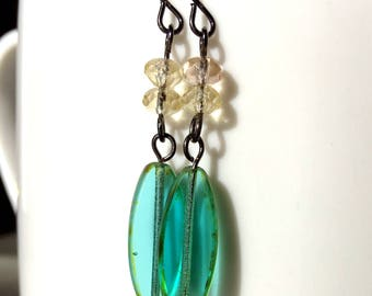 Teal and Yellow Earrings - Teal Green Earrings - Teal Jewelry - Dangle Earrings - Easter Gift - Spring Jewelry - Gift For Her - Spring Time