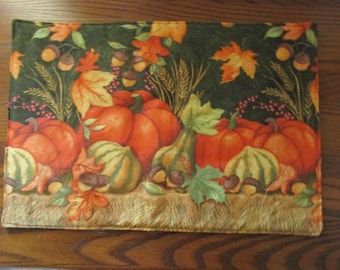 Quilted Table topper, Placemat, Fall, Halloween, set of 4