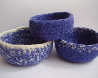 felted wool bowls set of 3 nesting violet and cream colored containers