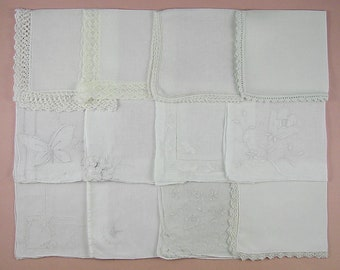 Vintage Hanky Lot,Wedding Hanky Lot,One Dozen White Wedding Vintage Hankies Handkerchiefs (Lot #92)