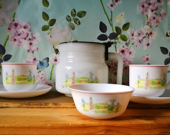 Arcopal Tea Set, Arcopal France, VINTAGE tea set, Coffee set, 2 Cups and Saucers, Tea Pot, Sugar bowl, Country flowers and fields pattern.