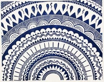linocut - SUN // 8x10 art print // printmaking // block print // dark blue // geometric print // sun, star // original art // mandala