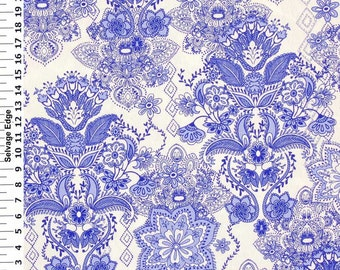 SALE - Blue Damask on White Cotton Home Dec Fabric - One Yard - 44 inch Home Decor Fabric