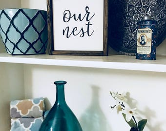 """Rustic Wood Framed """"Our Nest"""" Painted Canvas Sign"""