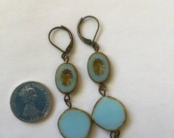 Antique Style Pale blue czech glass earrings, dangling drop