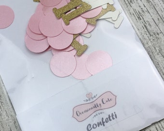 Confetti, table confetti, Birthday confetti, first birthday, party decorations, pink and gold