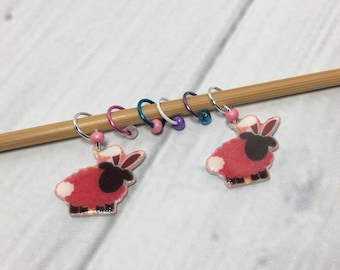 Bunny Sheep (April Sheep Of The Month) Knitting Crochet Stitch Marker Set