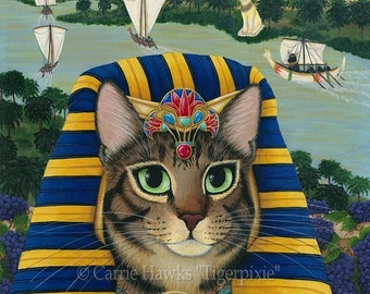 Egyptian Cat Pharaoh Cat Art Cat Painting Egypt Bast Cat King of Pentacles Bastet Fantasy Cat Art Print 5x7 Cat Lovers Art