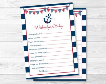 Nautical Anchor Wishes for Baby Cards / Nautical Baby Shower / Anchor Baby Shower / Navy & Red / INSTANT DOWNLOAD A212
