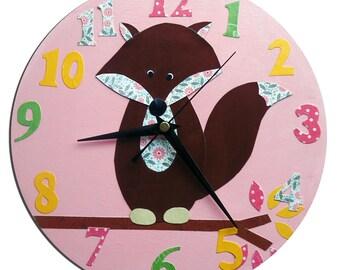 Fox Clock / Children's wall Clock / Nursery Clock - Blue, Pink, Yellow