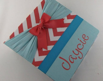 Baby Memory Book Girl Photo Album Coral Chevron Teal Pregnancy Journal 4x6 5x7 8x10 Scrapbook Personalized Shower Gift