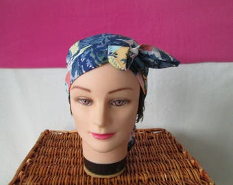 Scarf, chemo turban headband pirate woman with large blue flowers