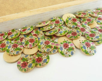 Painted Wood Sewing Buttons Green Flower Doodle (25mm 6pcs set)