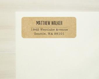 Return Address Labels - Design #03, Minimalist Text Address Labels, Custom Printed Labels, Brown Kraft Labels, Gift for Men, Gift for Her