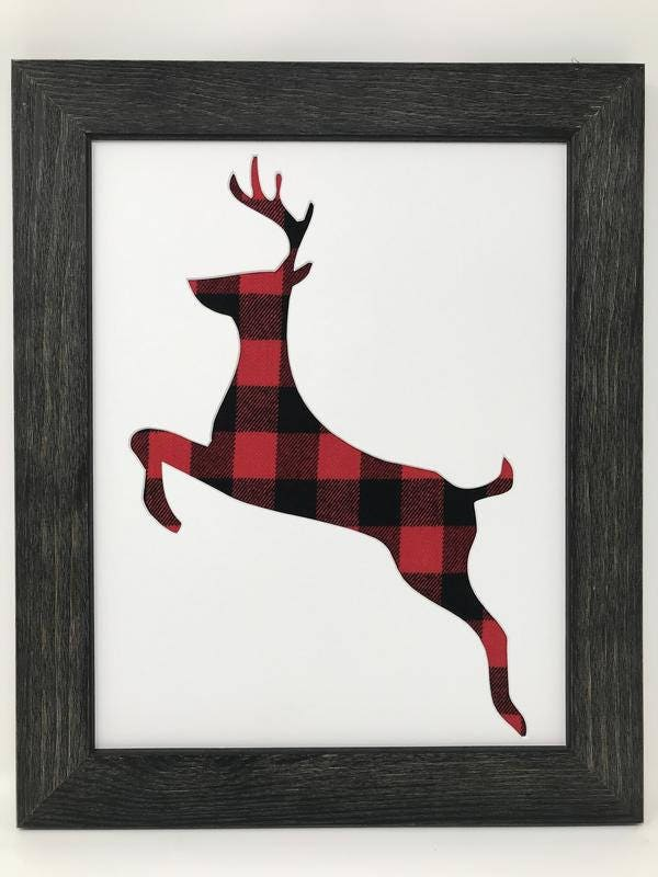 11x14 1.75 Rustic Black Frame with Leaping Deer and Buffalo Plaid