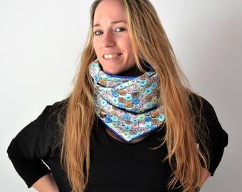 Polar and cotton scarf, Blue Neck Warmer,  Polar Neckband, Blue neckband, blue scarf,blue cowl neck scarf,polar shawl,present for her