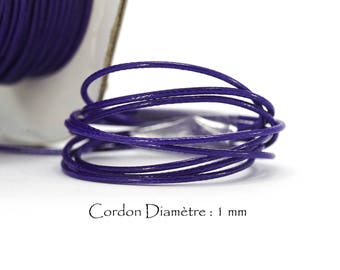 5 meters of thread cord waxed polyester - Ep. : 1 mm - purple color