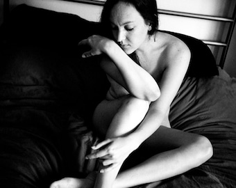 Black and white artistic nude portrait of a woman on a bed film photo print home decor - Lazy Morning 06
