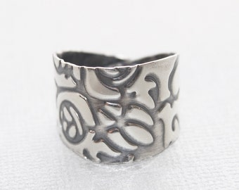 Sterling silver handmade ring.- statement ring - Christmas gift for her- antiqued ring -  bohemian Ring - adjustable ring - fashion ring