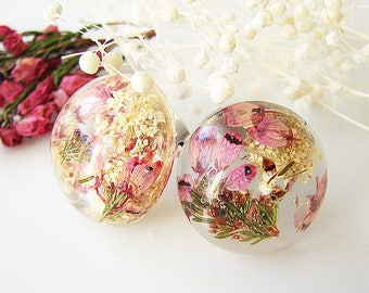 Resin Earrings Stud Earrings Resin Jewelry Real Flower Earrings Pressed Flower Earrings Pink Heather Flower