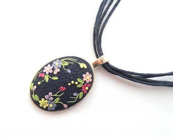 Dark Blue Necklace Applique Clay Pendant Clay Flowers Floral Necklace Embroidery Necklace Art Necklace Gift for Her Polymer Clay Jewelry