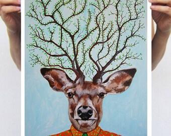 Deer Print,  Antler, Stag, Deer Art, Deer Art Print, Deer Artwork, Wall Decor, Wall Art, Deer Wall Hanging, Black, Gift For Men, Deer Tree