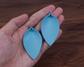 Leather Leaf Earrings Leather Earrings Dangle Earring D Light Blue