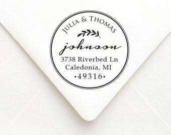 Personalized Circle Address Stamp, , Personalized Rubber Stamp, Custom Wedding Stamp, Housewarming, Wedding Gift