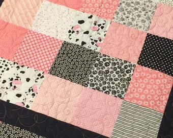 Modern Baby Quilt - Handmade - Baby Girl - 43 x 43 - pink white black - baby blanket - baby girl bedding - girl crib