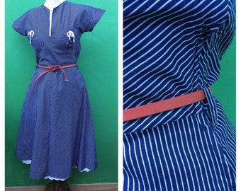 70s dress. | Made in Italy | Vintage Dress Striped Dress | Sailor Style | Cotton dress Sailor Style Striped Dress