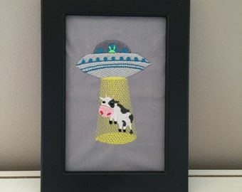 Alien and Cow Themed Art, Extraterrestrial Abduction, Wall or Desktop Decoration