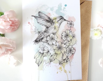 Hummingbird Greetings Card - A6 Watercolour Ink Bird Floral Illustration Artwork Mother's Day, Birthday Thank You Blank Card for Mum Sister