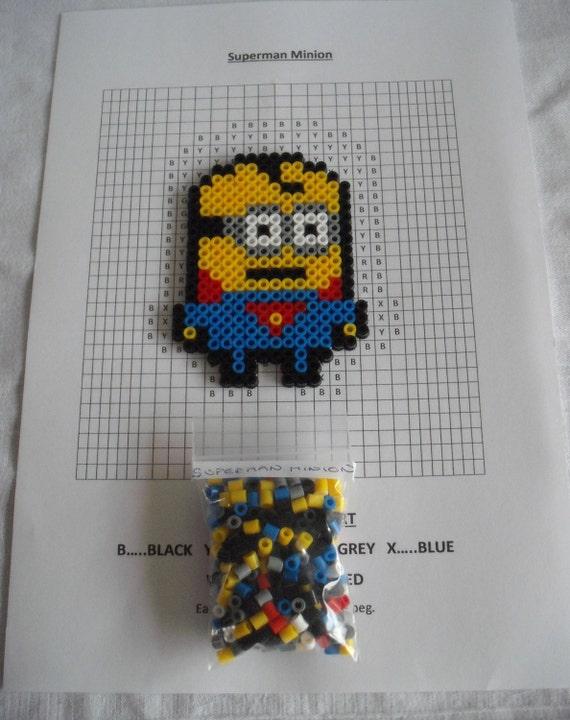 Superman Minion Hama Beads And Pattern.DIY Kit Colour Key Chart Free ...