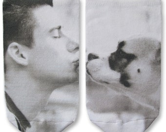 Custom Printed Pet Photo Socks, a Unique and Fun Gift Idea, White No Show Socks, Men's and Women's Socks - Photos on Socks Sold By The Pair