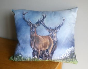 Two Stags With Sky Background Square Cushion By Artist Grace Scott