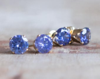 Sparkly Tanzanite CZ Studs in Gold or Silver, Bridesmaids Gifts, Periwinkle Blue, Violet Ear Studs, Sparkling Ear Studs, Bridal Gifts