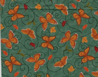 Fabulous Fall by Deb Strain for Moda Fabric 1.25 Yard Butterflies on Teal