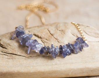 Rough Iolite Row Necklace, Water Sapphire Necklace, Inky Violet Blue Indigo Iolite Jewelry, Raw Stone Jewelry, Iolite Crystal Necklace