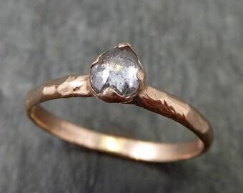 Fancy cut Diamond Solitaire Engagement 14k Rose Gold Wedding Ring Rough Diamond Ring byAngeline 0680