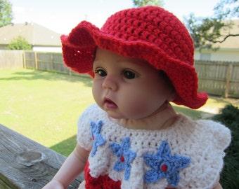 Baby Girl Sunhat, Crochet Sunhat, Red Sunhat, Pick your color Sunhat, 0-6 month sunhat, 6-12 month hat, 12-18 month hat, 18-24 month hat