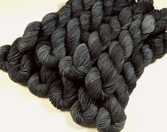 Mini Skeins, Hand Dyed Sock Yarn, Sock Weight 4 Ply Superwash Merino Wool Yarn - Slate Grey Tonal - Knitting Hand Dyed Yarn, Charcoal Gray