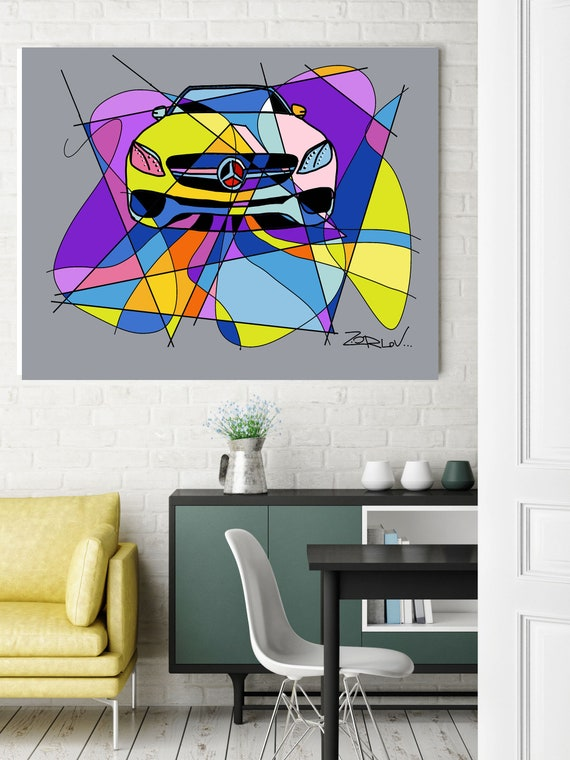 """Colorful Mercedes, Mercedes art print. Purple Mercedes Painting Canvas Art Print, Kids Wall Decor, Cars Wall Decor up to 72"""" by Zeev Orlov"""